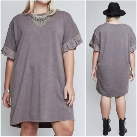Covet And Clothe Dresses Julie Lace Ruffle Sleeve Plus Size Tunic